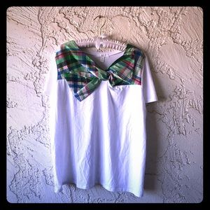 XXL Spring Plaid Bow Front White 1901 T-Shirt